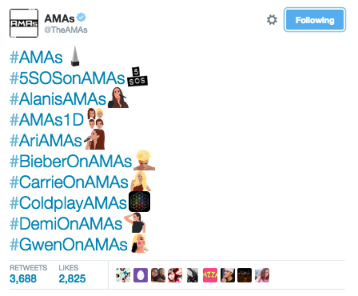 #AMAs Twitter Hashtags Part 1/2