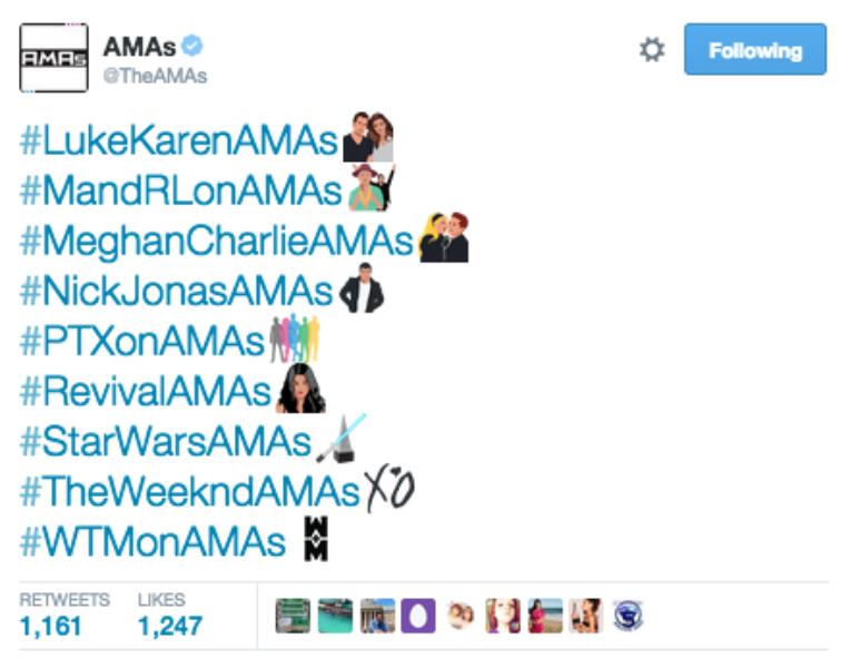#AMAs Twitter Hashtags Part 2/2