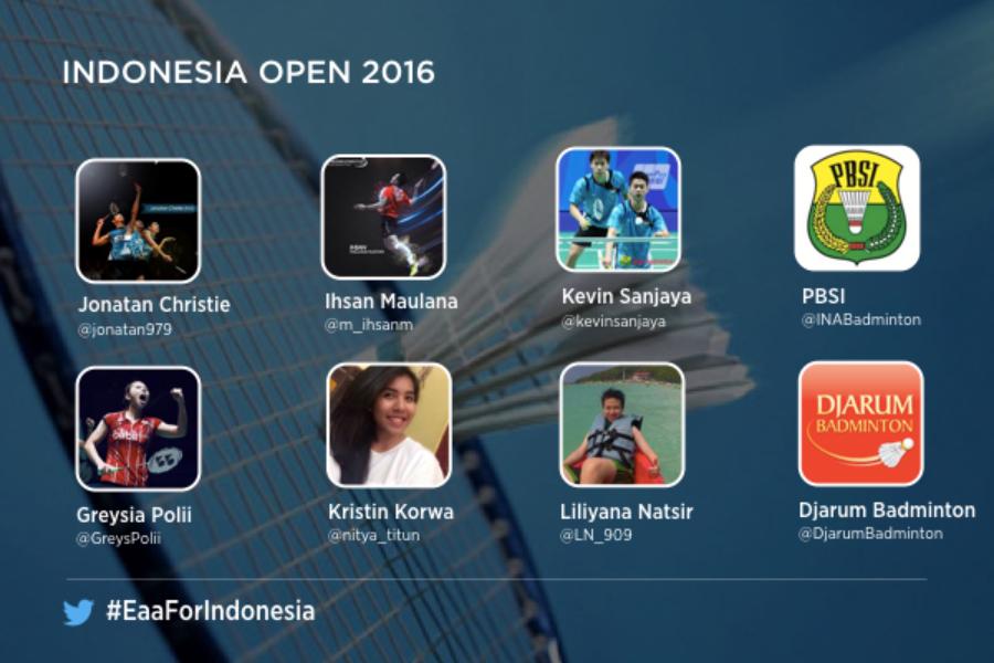 #EaaForIndonesia: Twitter Indonesia dan PBSI bawa keseruan Indonesia Open 2016