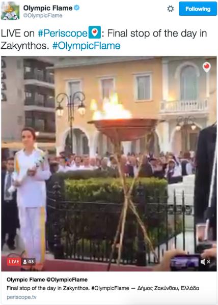 @OlympicFlame: Ikuti Perjalanan Obor Olimpiade 2016 di Twitter dan Periscope
