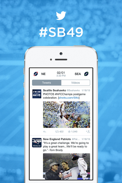 @Patriots vs. @Seahawks: tu experiencia #SB49 en Twitter