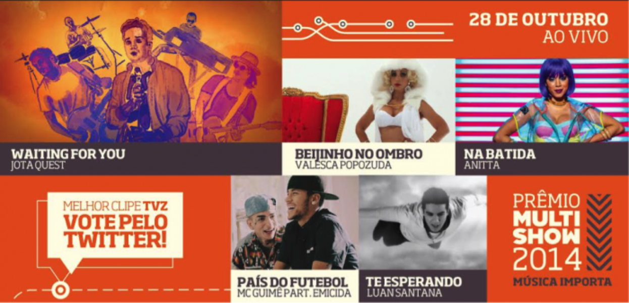 #PrêmioMultishow2014: vote no Melhor Clipe TVZ pelo Twitter