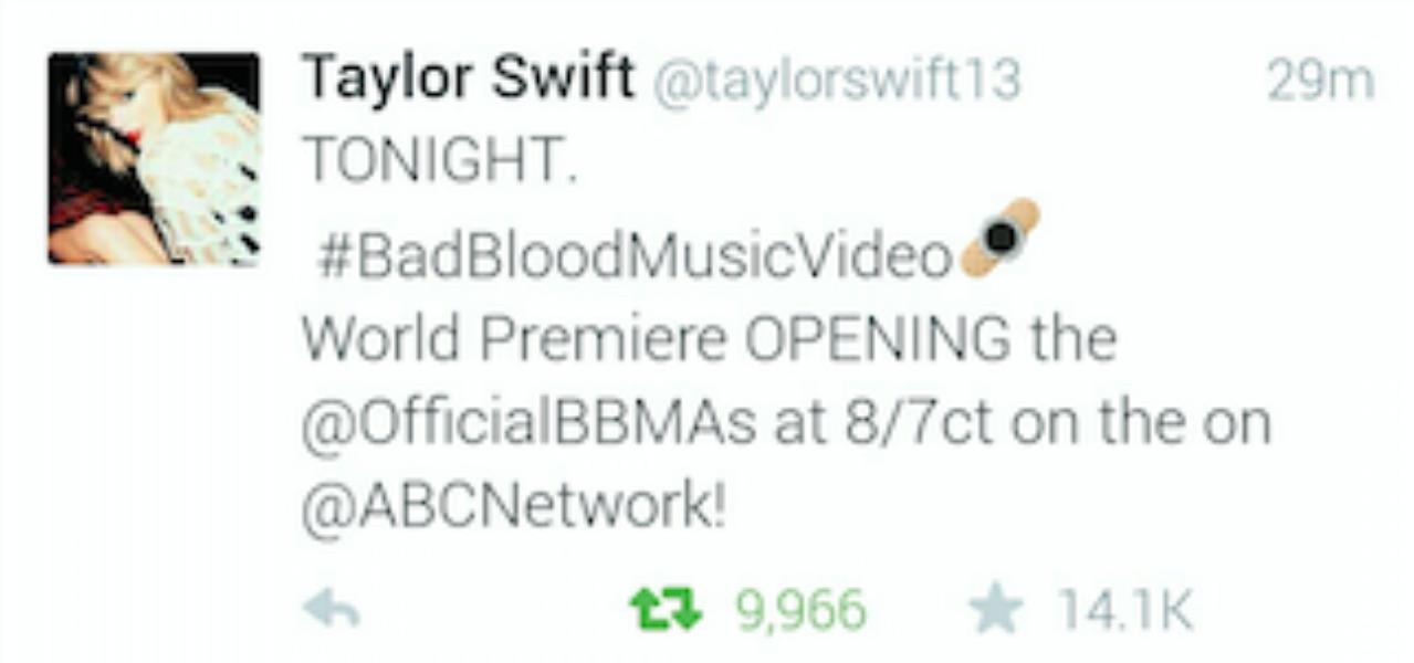 @Taylorswift13's #BadBloodMusicVideo Tweet