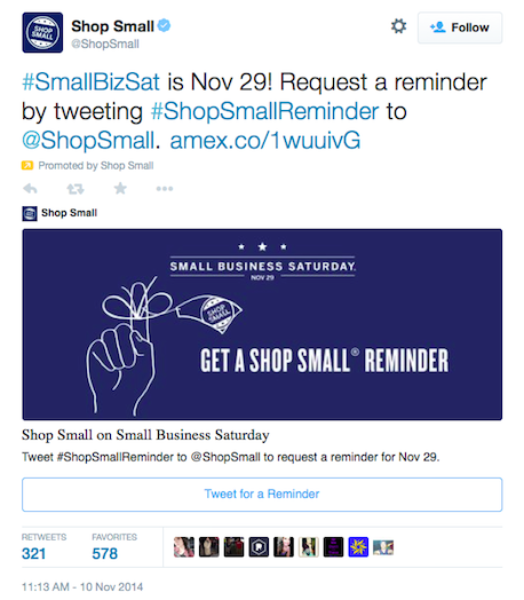 American Express uses Twitter to encourage consumers to #ShopSmall
