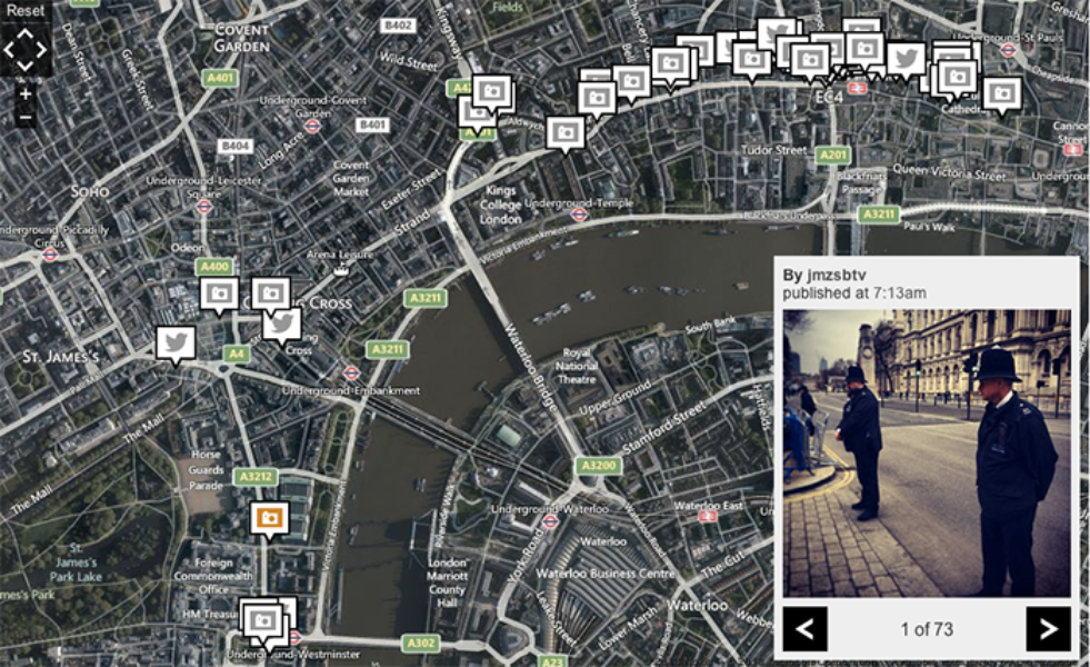 BBC/Geofeedia on tweets around the Thatcher funeral route