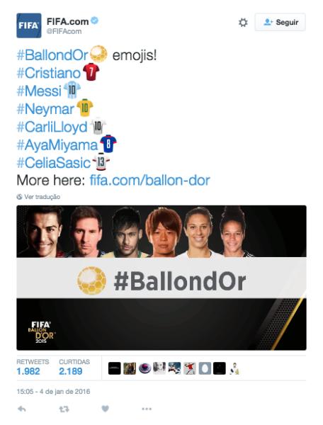 Bola de Ouro, que acontece na próxima segunda, já tem Twitter Emojis exclusivos