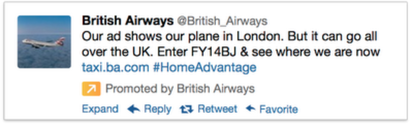 British Airways Targeted Tweet
