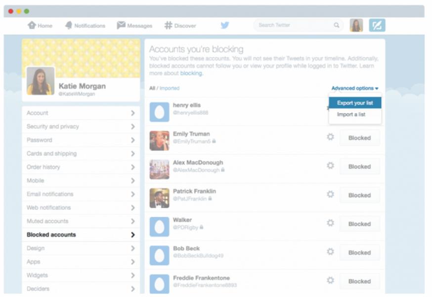 Compartir listas bloqueadas convierte a Twitter en un espacio más seguro