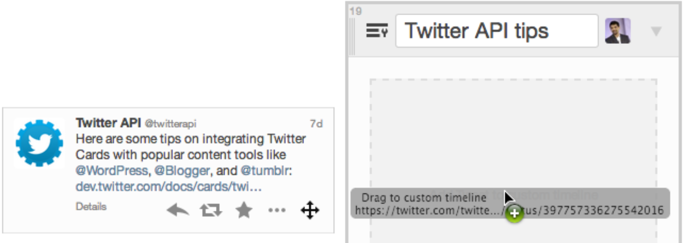 Drag and drop to add Tweets to custom timelines