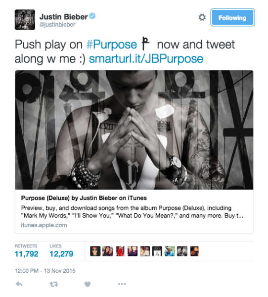 "Emojis with ""Purpose"" for @justinbieber's album release"