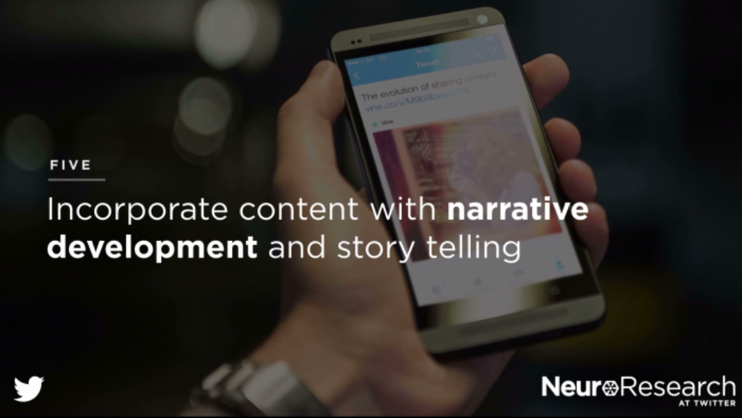 For best results on Twitter use content with narrative development.
