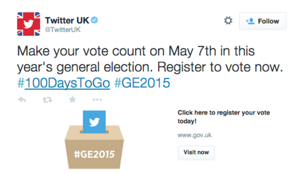 Make your vote count on May 7th in this year's general election. Register to vote now. #100DaysToGo #GE2015
