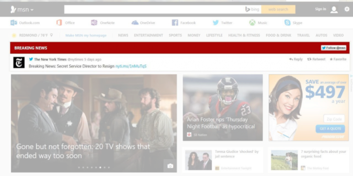 MSN's new web design features breaking news Tweets