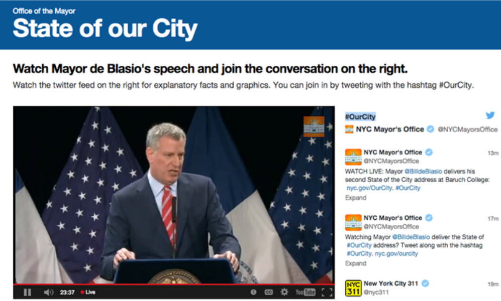 New York City's Office of the Mayor used Curator to power a Twitter feed on nyc.gov during the 2015 State of our City speech. Courtesy of nyc.gov and the city of New York.