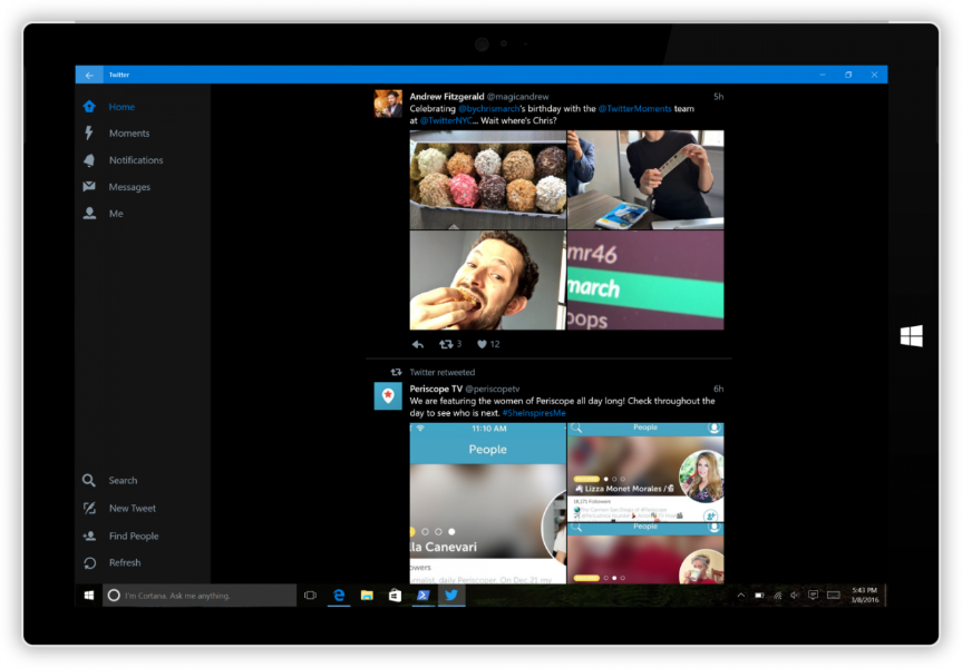 Now on mobile: Twitter for Windows 10