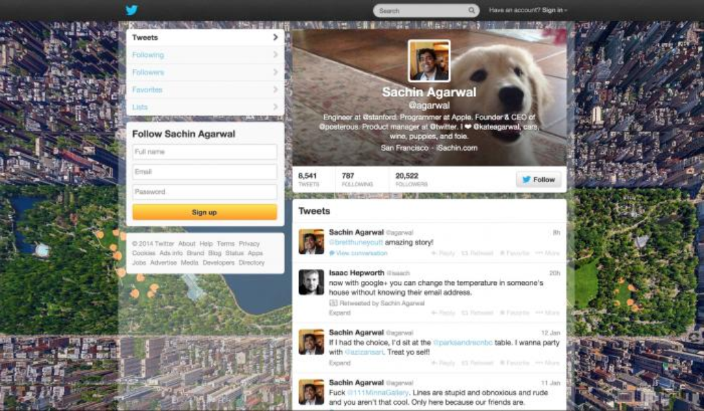 Old Twitter profiles on web