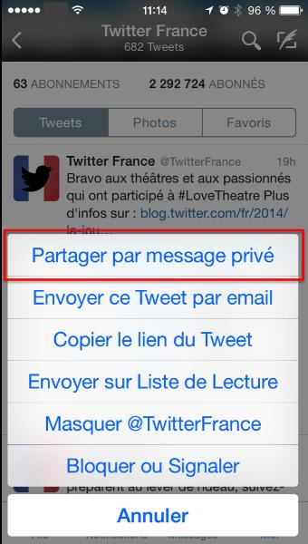 Partagez vos Tweets via Message Privés (Direct Messages)