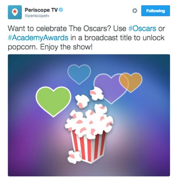 Periscope #Oscars popcorn heart