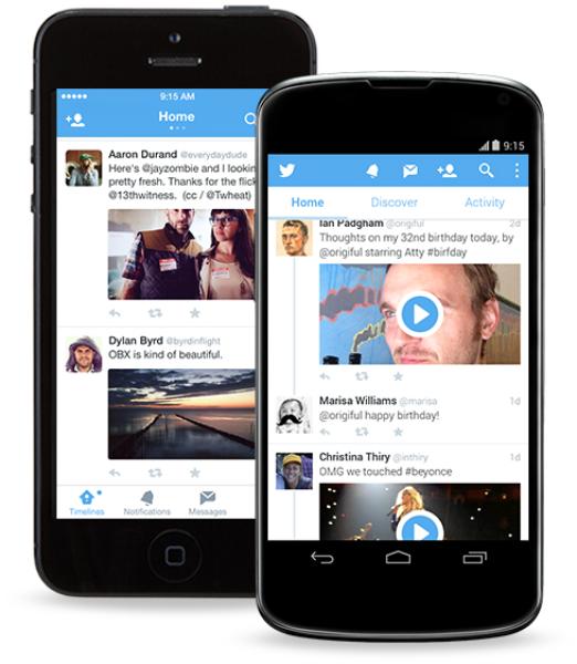 Photos dans les messages privés et navigation entre les timelines