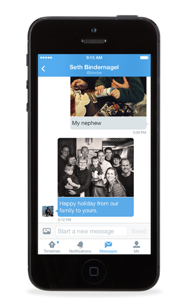 Photos in direct messages and swipe between timelines