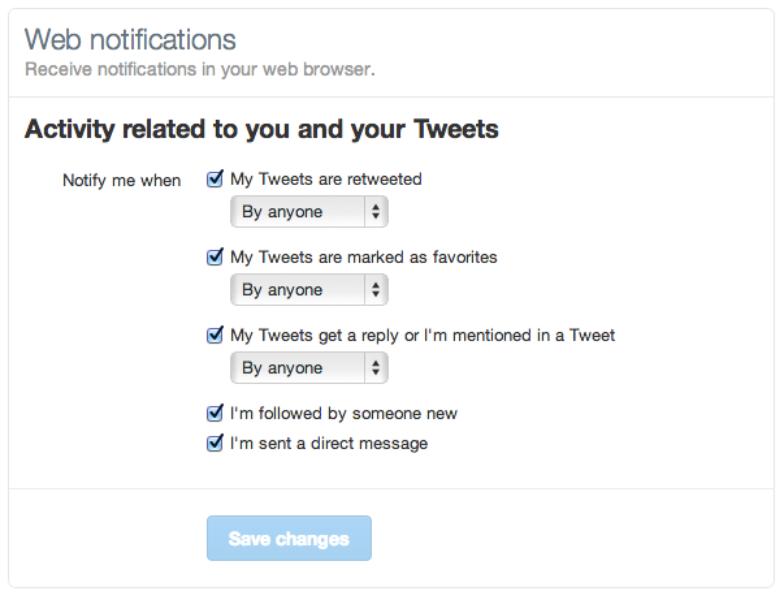 Restez connecté grâce aux notifications sur twitter.com