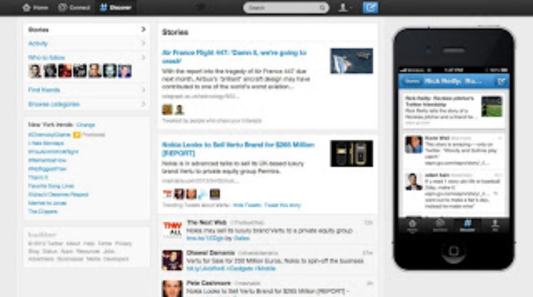 Screenshot mostrando a nova aba Descobrir do Twitter