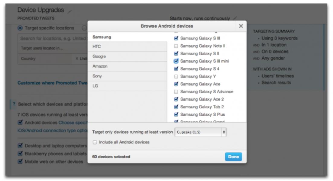 Segmentação mobile avançada por aparelho, versão do sistema operacional e wifi