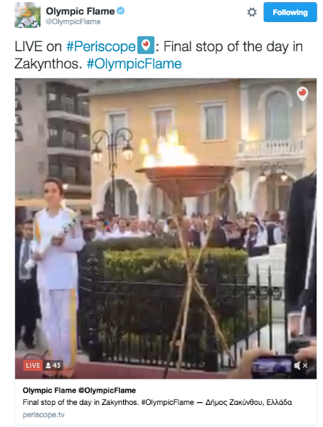 Sigue a @OlympicFlame en Twitter y Periscope