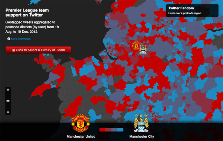 Support for Premier League clubs mapped. By Floating Sheep