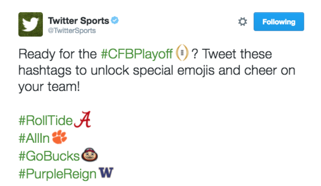 The #CFBPlayoff is happening on @Twitter