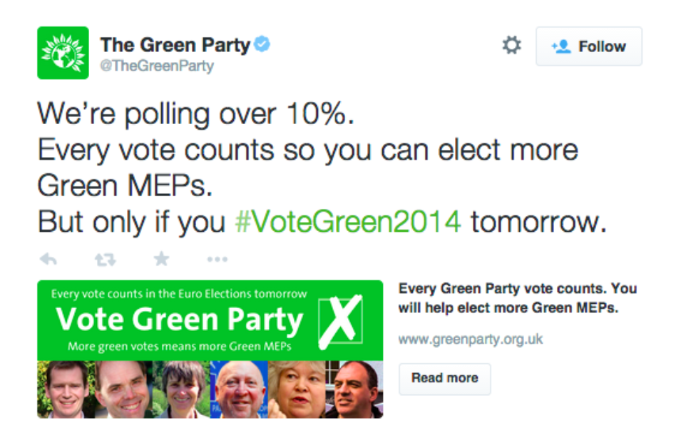 The Green Party Twitter Website Card