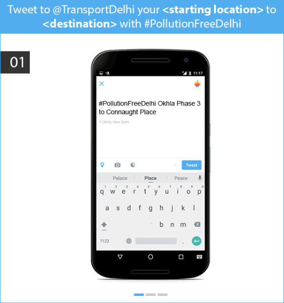 Tweet for real-time public transport info in Delhi