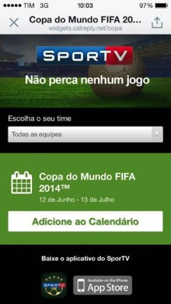 Tweete e receba o Calendário SporTV para não perder a #Copa2014