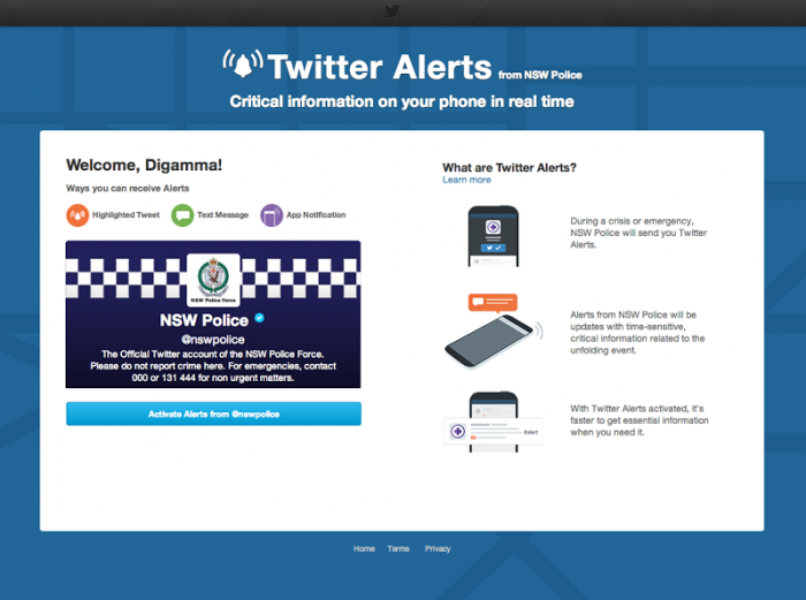 Twitter Alerts come to Australia