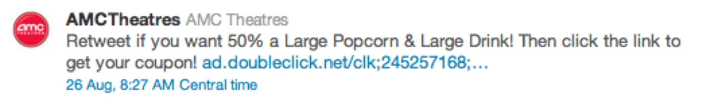Twitter AMC Theatres Promoted Tweet