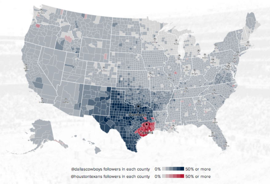Twitter @DallasCowboys v @HoustonTexans fan map. Click image to explore it