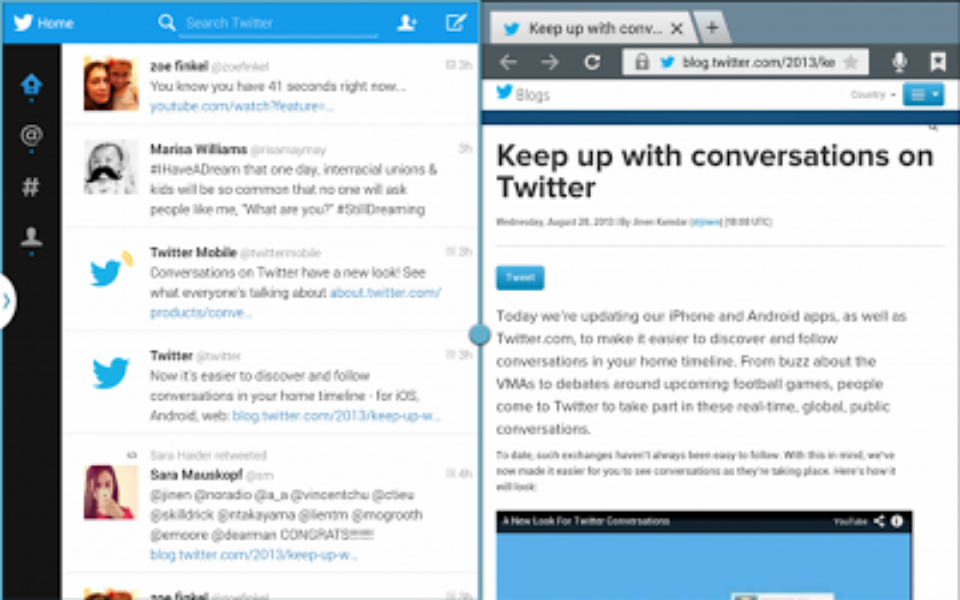 Twitter for Android: タブレットでも使えるようになりました