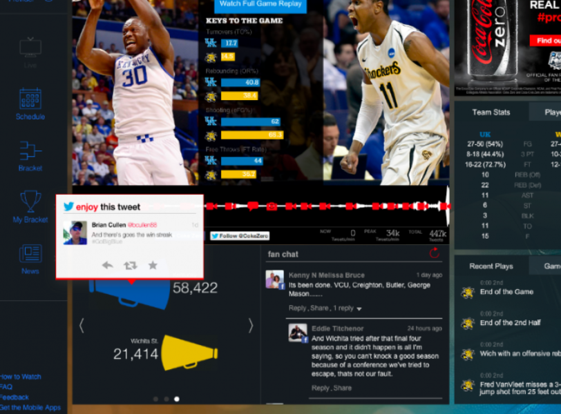 Twitter holds court in March Madness Live's Social Arena