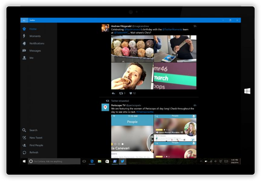 Twitter para Windows 10 está disponível em telefones celulares