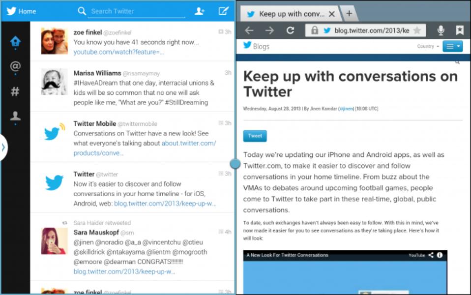 Twitter pour Android : maintenant sur tablette !