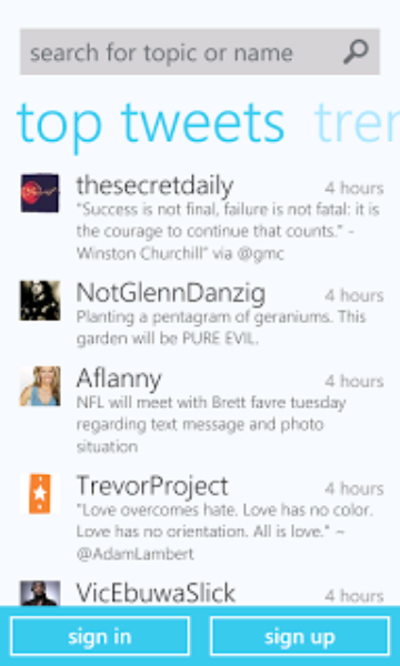 Twitter pour Windows Phone