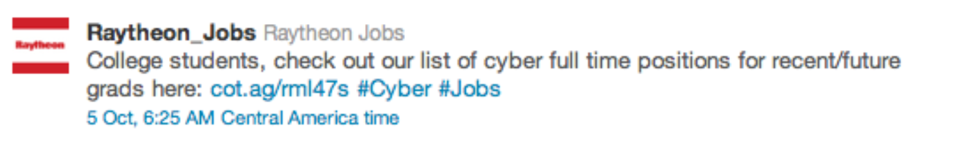 Twitter Raytheon Jobs Promoted Tweet