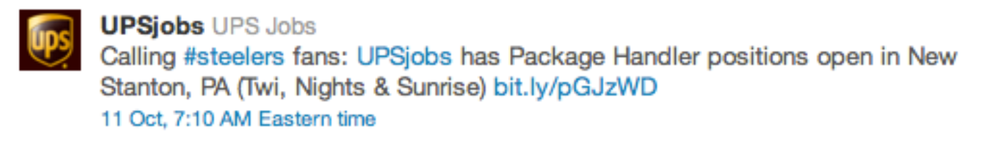 Twitter UPSJobs Tweet