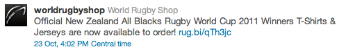 Twitter World Rugby Shop Promoted Tweet