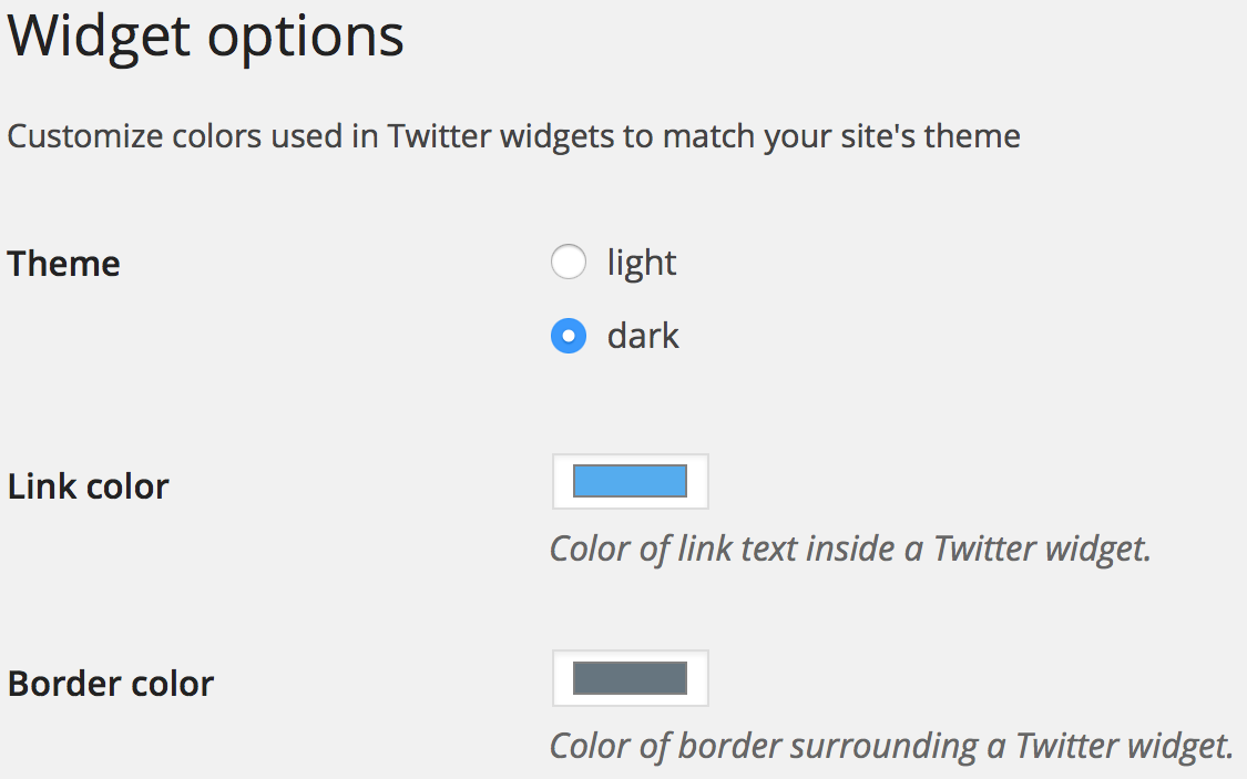Twitter widget options administrative interface example