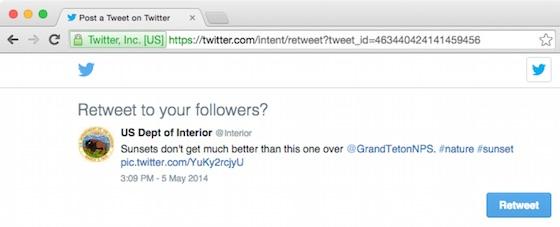 Web Intent retweet