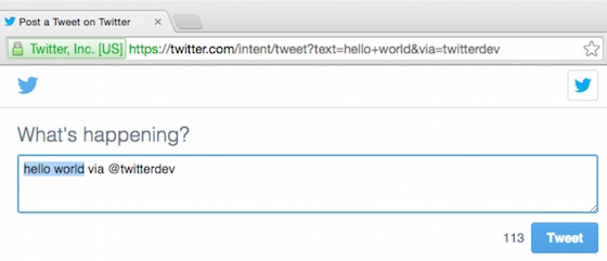 Tweet Web Intent
