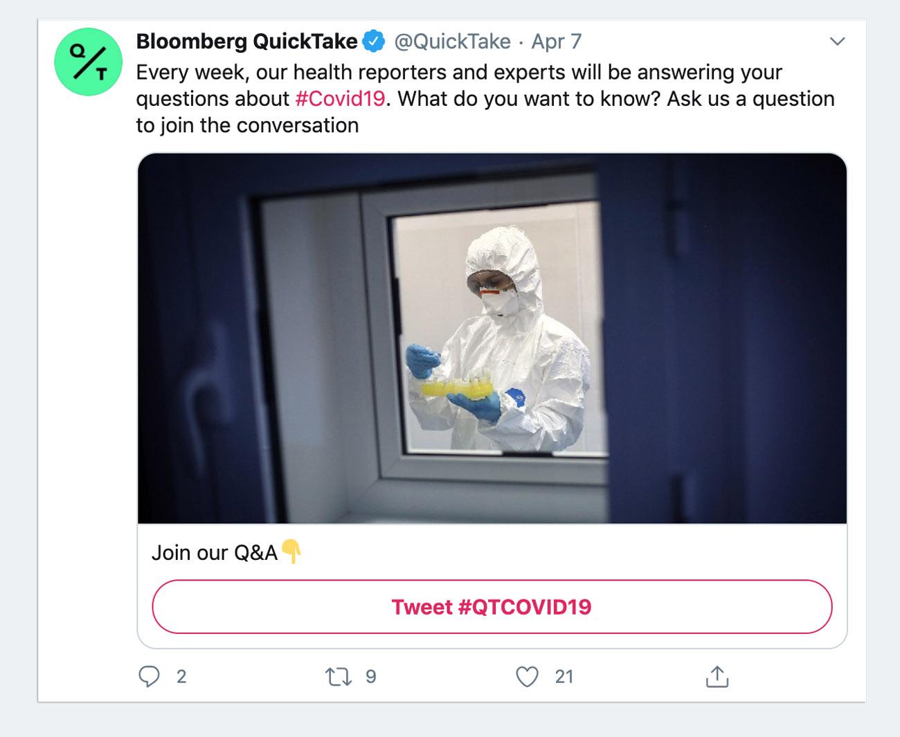 Bloomberg Conversational Card Tweet