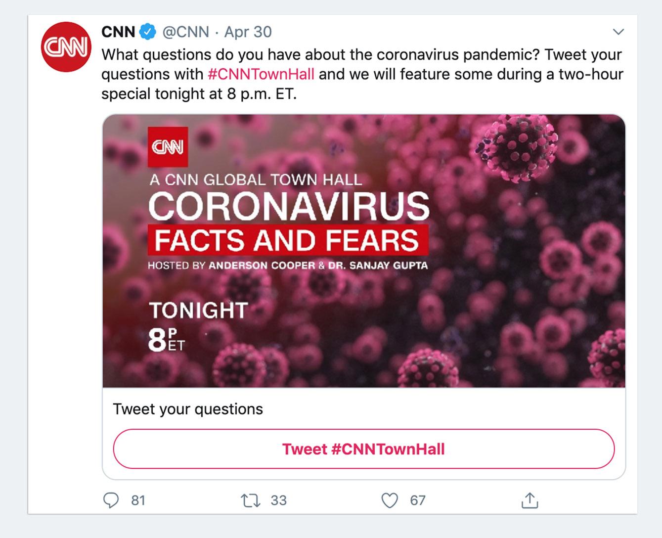 CNN Conversational Card Tweet