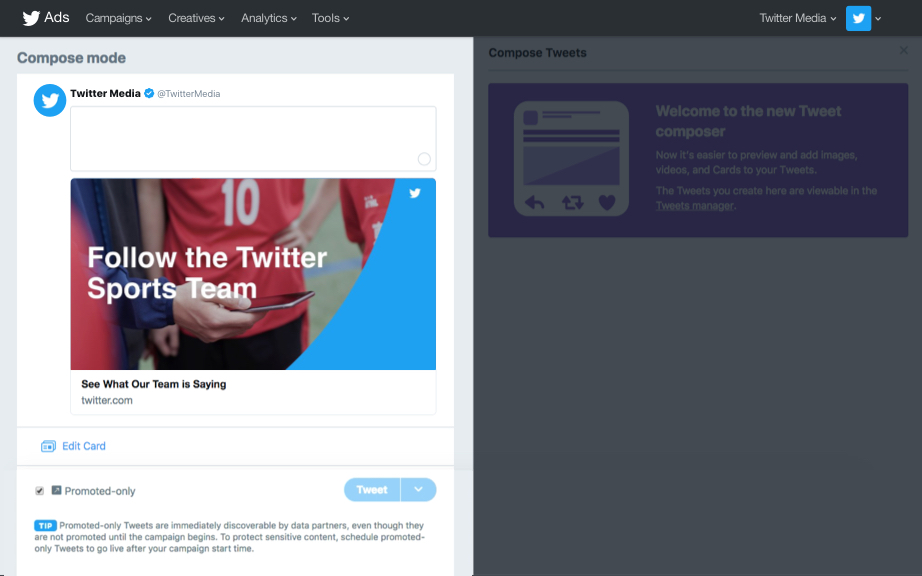 "Tweet out the Website Cards via the ""Compose new Tweet"" window."